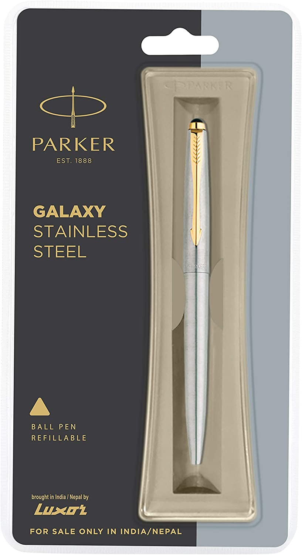 Gold Trim Parker Jotter Stainless Steel GT Ball Pen Original New in Box