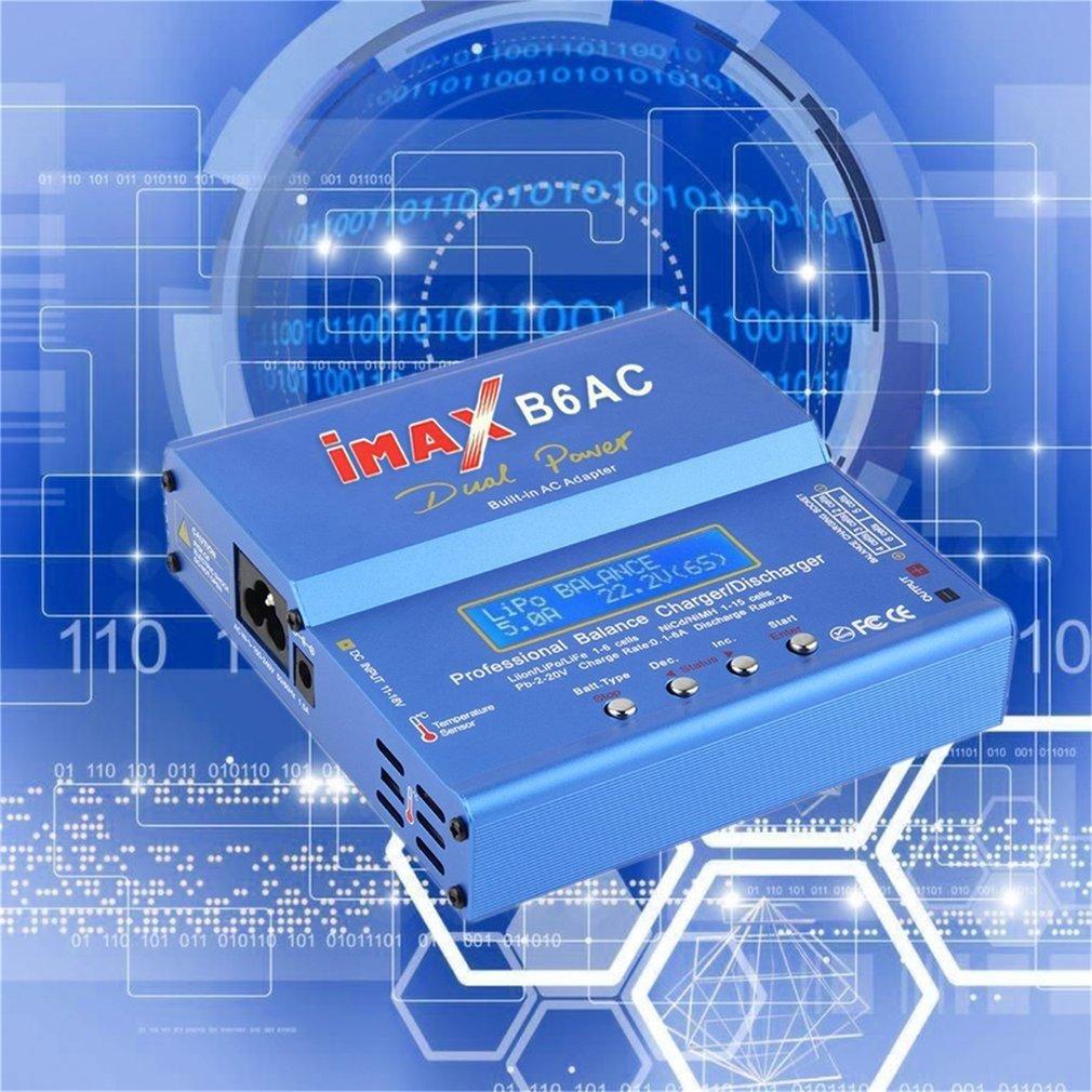 Blu 80W iMAX B6AC 100V-240V Lipo NiMH 3S RC Caricabatterie bilanciamento batteria al litio Schermo LCD digitale RC Hobby (Colore: blu) Gugutogo