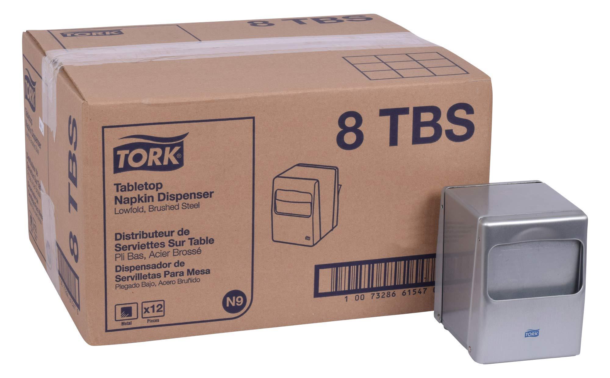 Tork 8TBS Lowfold Tabletop Napkin Dispenser, 5.5'' Height x 4.0'' Width x 4.75'' Depth, Brushed Steel (Case of 12 Dispensers) by Tork