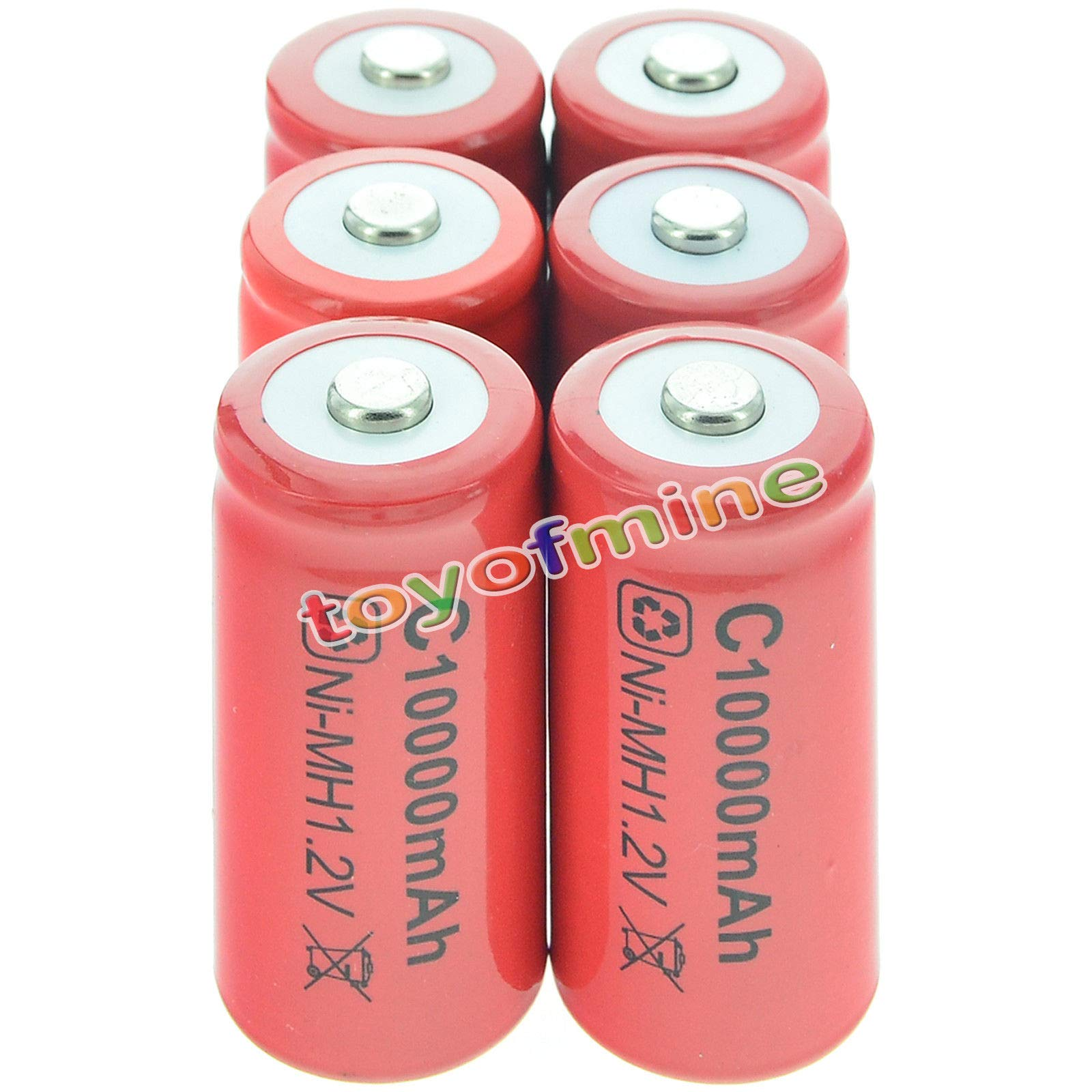 toyofmine 6pcs C size Rechargeable Battery 1.2V 10000mAh Ni-MH