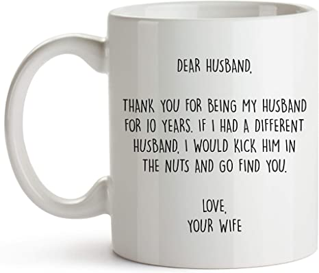 Younique Designs 10 Year Anniversary Coffee Mug For Him 11 Ounces 10th Wedding Anniversary Cup For Husband Ten Years Kitchen Dining