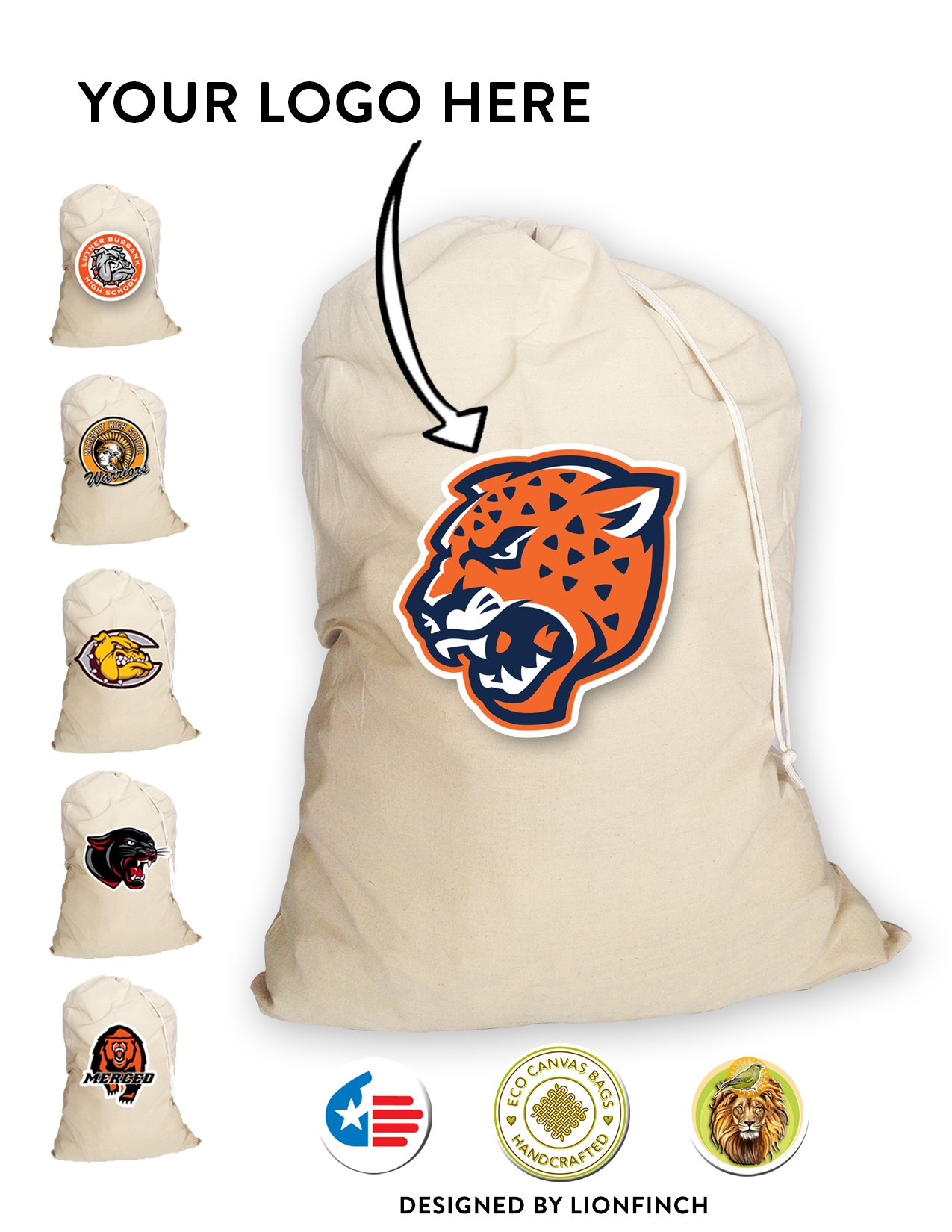 Custom Silk Screened Volleyball Equipment/Ball Bags With Your Cool Logo- 100 Count. Heavy Duty, Extra Large- 150 Pound Load Capacity Canvas Bags. Proudly Made in America.