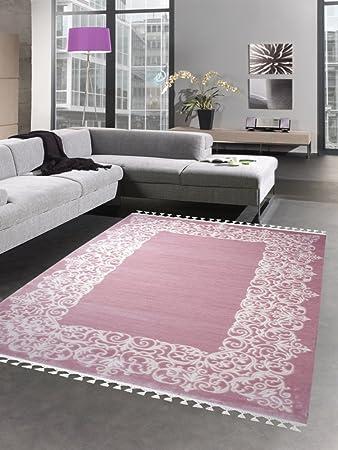 Carpetia Designer Teppich Wollteppich Ornamente Fransen Uni Rosa