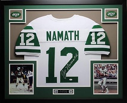 a05dd26be9e Joe Namath Autographed Signed And Framed White Jets Jersey Signature  Memorabilia - JSA Authentic