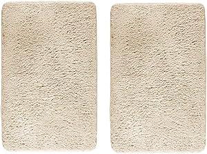 "mDesign Soft Microfiber Polyester Non-Slip Rectangular Fuzzy Mat, Extra-Plush Water Absorbent Accent Rug for Bathroom Vanity, Bathtub/Shower, Machine Washable - 34"" x 21"" - Pack of 2, Ecru/Light Beige"