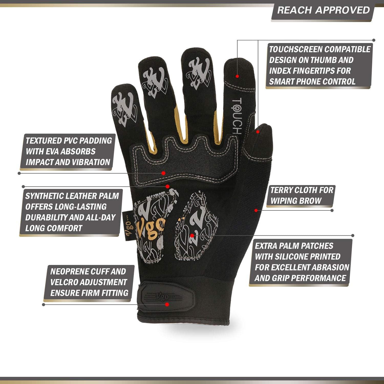 Taille,10//XL,Noire+Or,SL8848 Rembourrage EVA Vgo 3 paires de Gants m/écaniques /à haute dext/érit/é anti-Abrasion Ecran tactile anti-Vibration Gants de Travail pour Rigger Articulation TPR