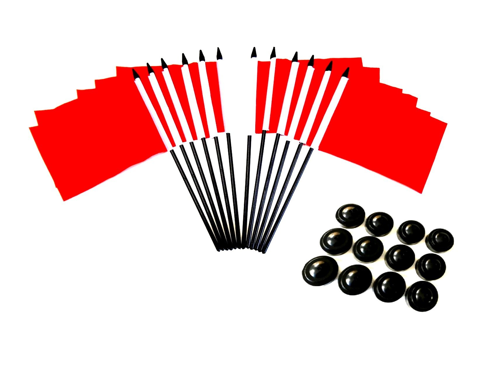 Pack of 12 4''x6'' Red Polyester Miniature Office Desk & Little Table Flags, 1 Dozen 4x6 Red Small Mini Handheld Waving Stick Flags with 12 Flag Bases (Stands)