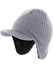 Home Prefer Men's Winter Hat with Earflap Visor Beanie Warm Knit Hat with Lining