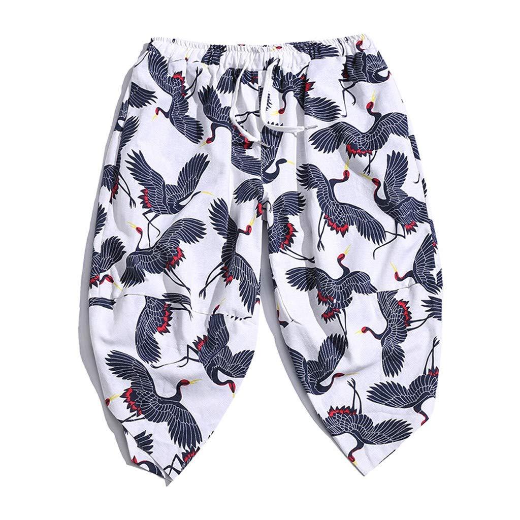 2019 Gift Idea Mens Summer Baggy Cotton Linen Print Harem Pants Cropped Trousers Men's Wide-Legged Bloomers by Donci Cotton Linen