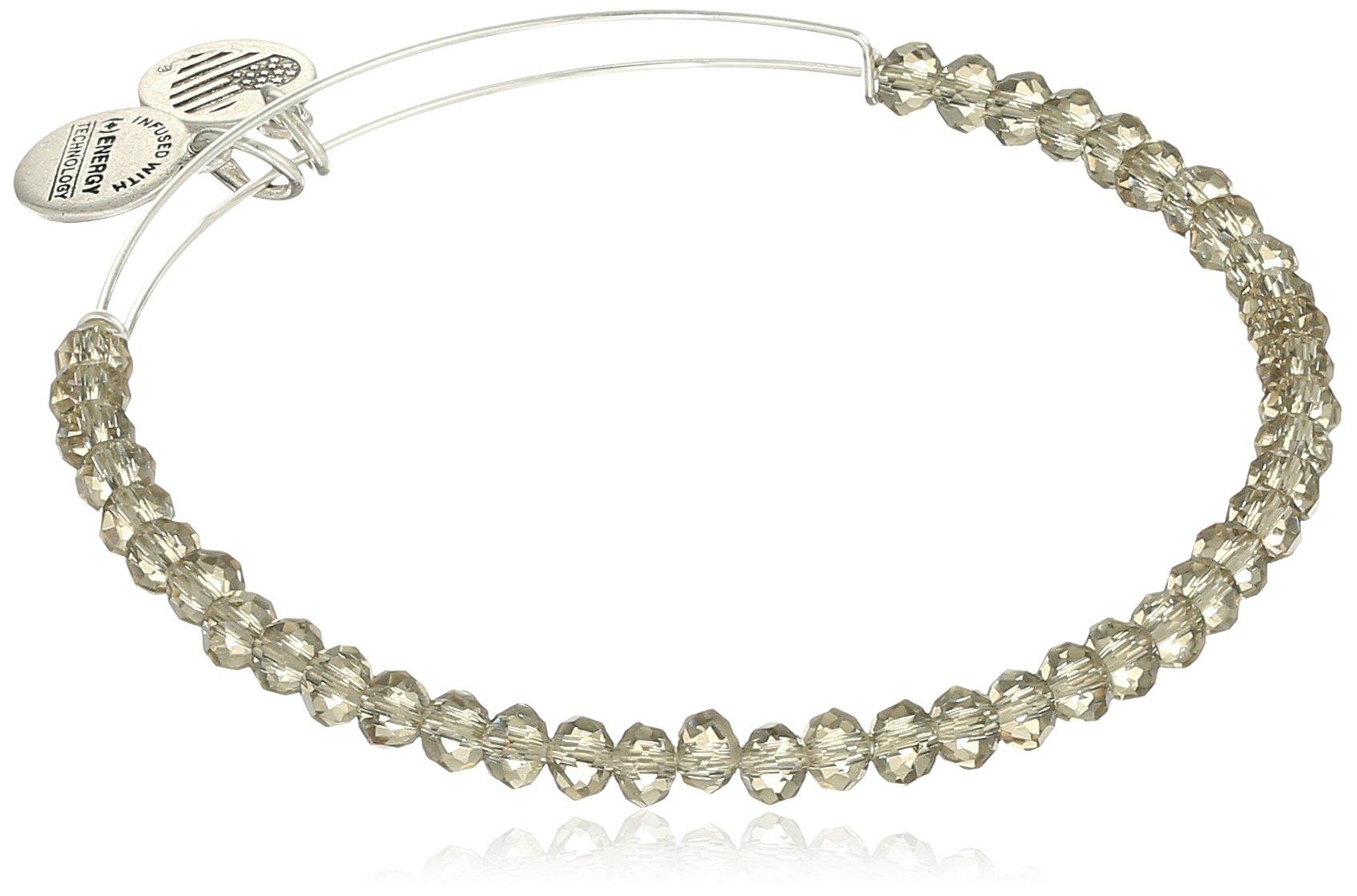 Alex and Ani Brilliance Bead Crescent Moon Blush/Shinny Silver Bracelet