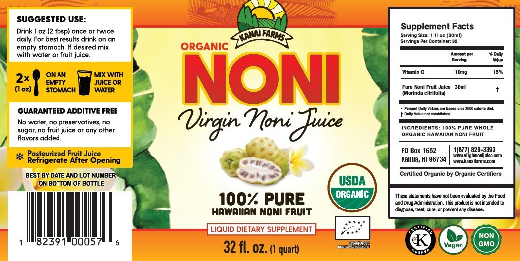 Virgin Noni Juice - 100% Pure Organic Hawaiian Noni Juice - 32oz Glass Bottle by Virgin Noni Juice (Image #1)