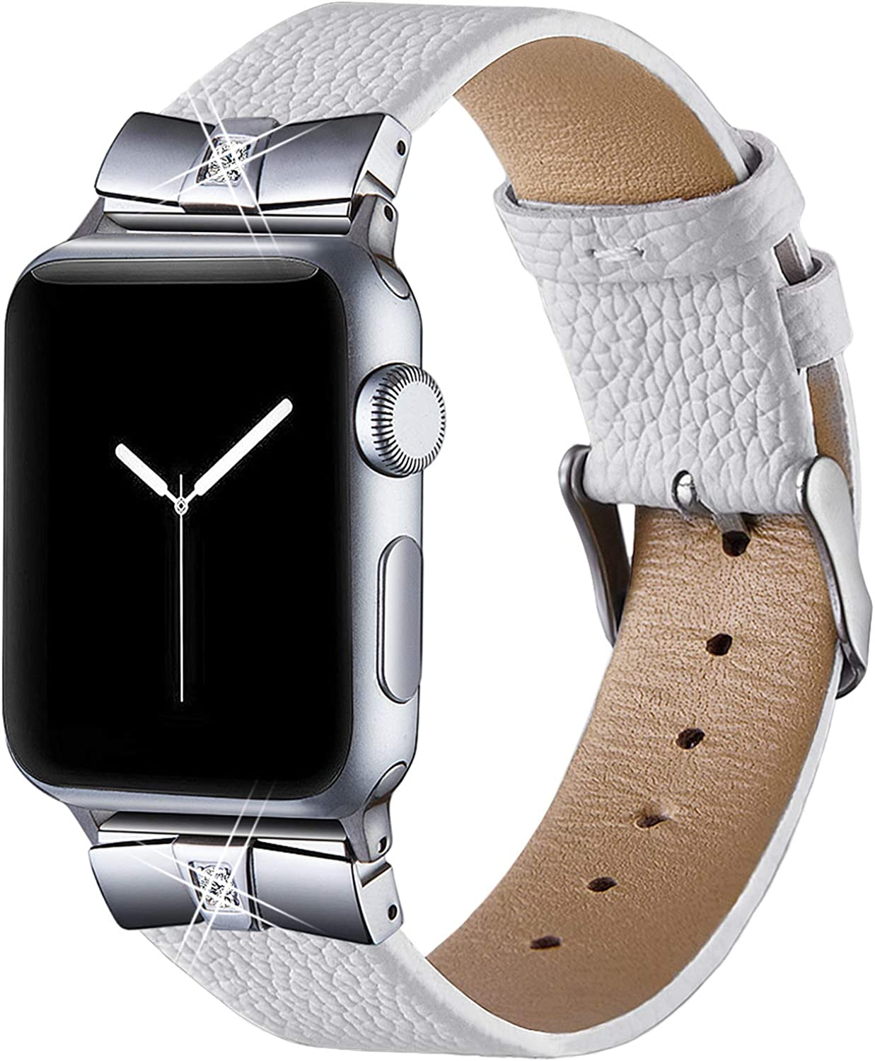 VIQIV Leather Bands for Compatible Apple Watch Band 38mm 42mm 40mm 44mm Iwatch Series 5/4/3/2/1, Womens Dressy Metal Diamond Replacement Wrist Band Strap