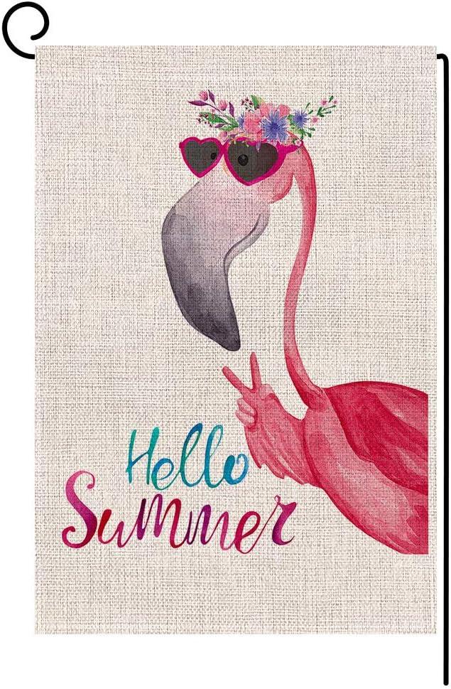 Hello Summer Flamingo Small Garden Flag Vertical Double Sided 12.5 x 18 Inch Floral Beach Burlap Yard Outdoor Decor