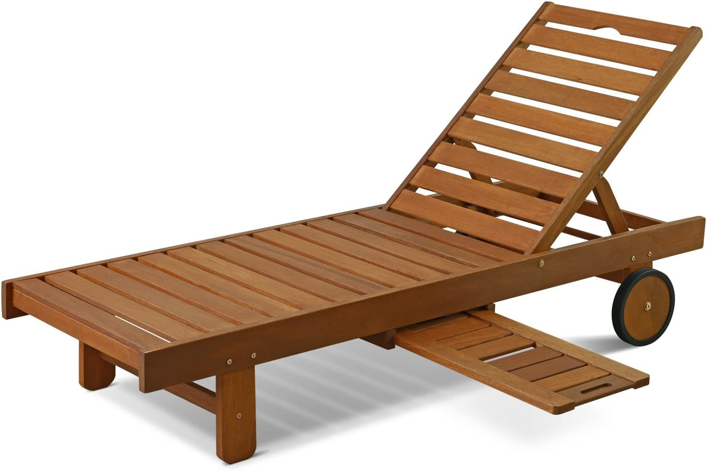 Furinno FG17744 Tioman Outdoor Hardwood Patio Furniture Sun Lounger with Tray in Teak Oil, Natural