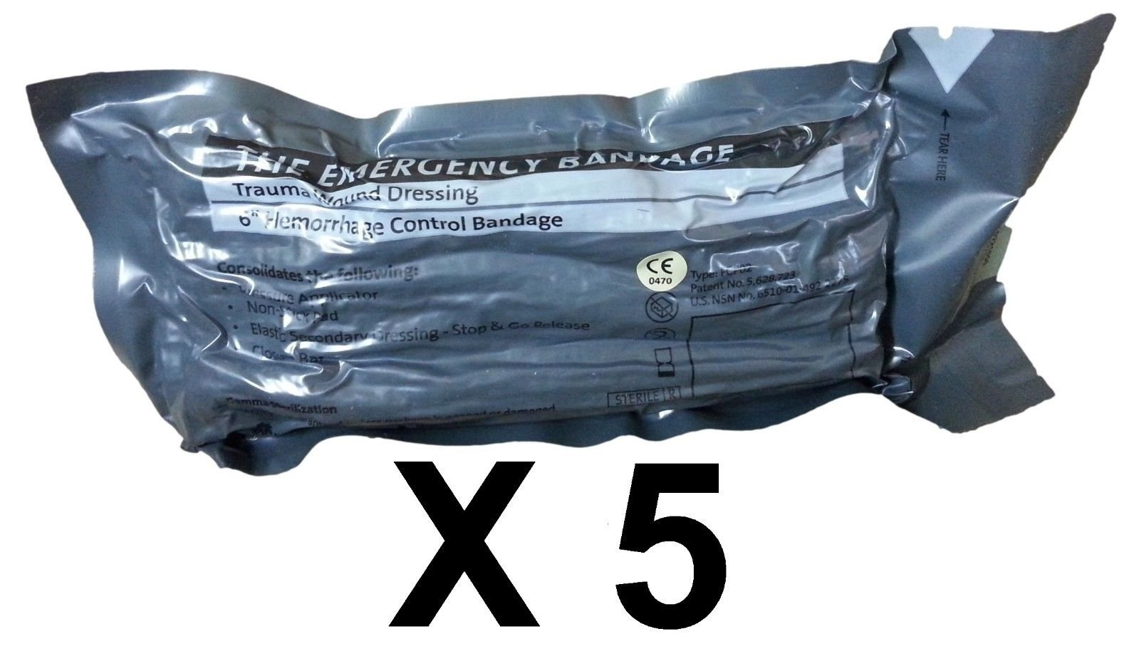 Economy Pack - 6'' Military Israeli Bandage, Shipped from Israel (Lot of 5) by Israelfirstaid.com