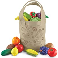 Learning Resources Fresh Picked Fruit & Veggie Tote, Pretend Play Food Set, 16 Piece, Ages 2+