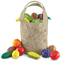 Learning Resources Fresh Picked Fruit & Veggie Tote, Pretend Play Food Set, 16 Piece...