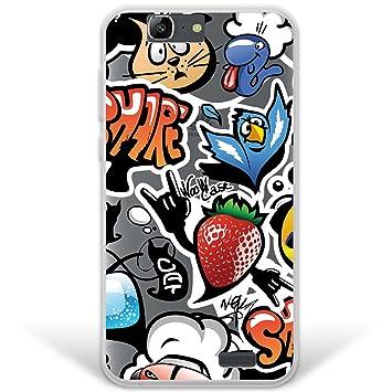 WoowCase Funda Huawei Ascend G7, [Hybrid ] Grafiti de Colores 2 Case Carcasa [ Huawei Ascend G7 ] Rígida Fabricada en Policarbonato y Bordes de TPU ...