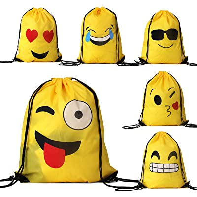 PojoTech Emoji Drawstring Backpack Bags 6 Pack for Women Kids Teens Girls Boys Gift, 16x13 Inch (Emoji)