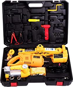 MOTORMAN TOOLS 12V DC 3.0T(6600 lbs) Electric Scissor Jack and Electric Impact Wrench and Inflator Pump 3-in-1 Car Repair Tool Kit