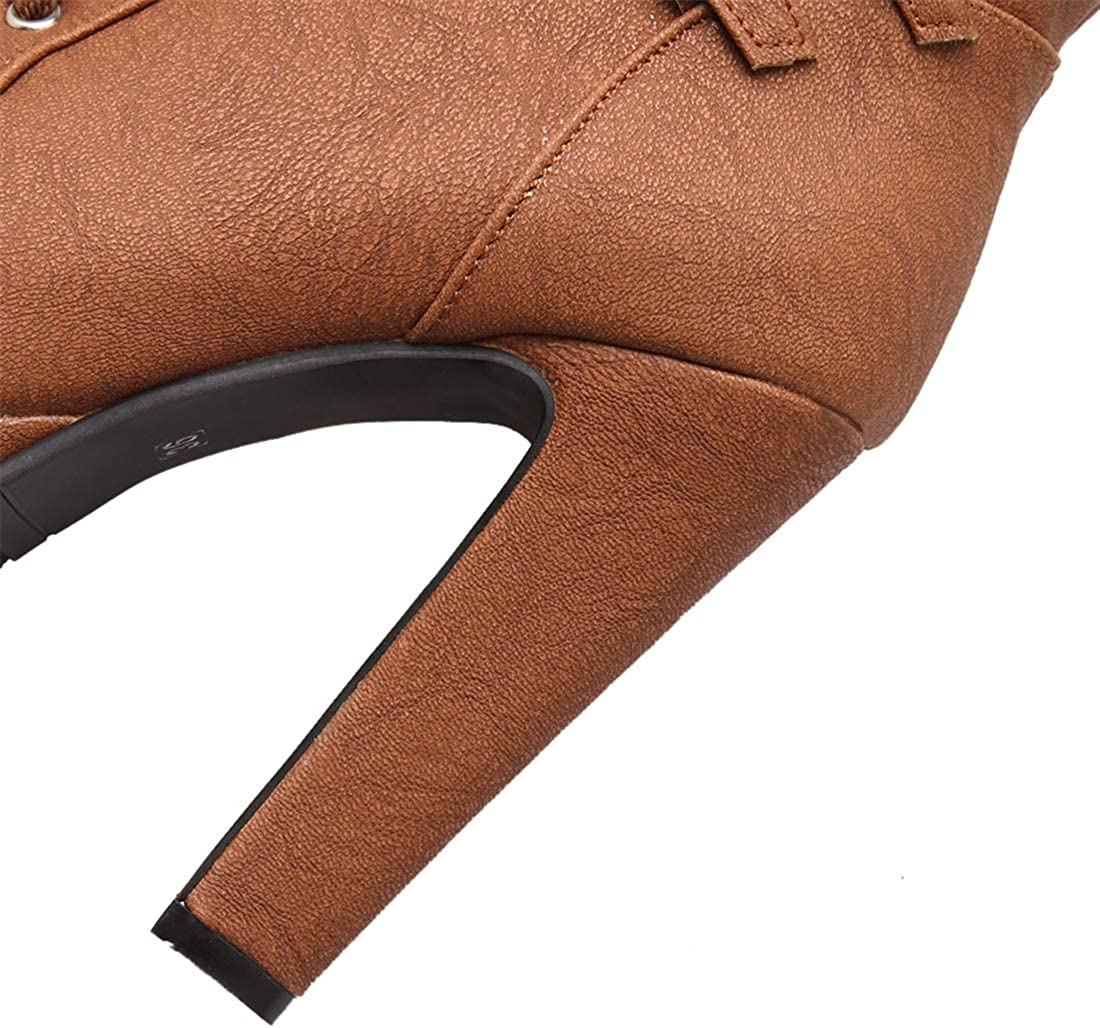 Bellirala Womens Platform Lace Up Biker Boots Chunky High Heel Booties Buckle