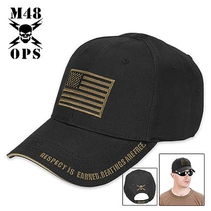 Amazon.com  M48 Gear American Flag Tactical Hat - Cap Black  Sports    Outdoors b578bbb1993