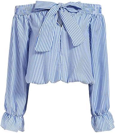 ROPALIA Blusa de mujer, camiseta de hombros caídos, de manga larga, a rayas