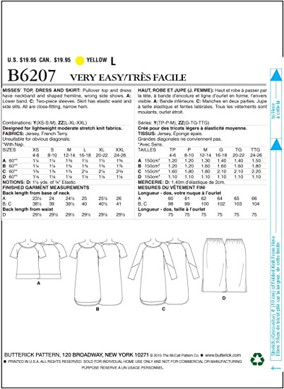 Size Xsm-Xxl Misses Top Dress /& Skirt Butterick B6207 Fast /& Easy PATTERN