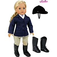 18 inch doll Horse Riding Outfit, 5 Piece Complete Navy Equestrian Set fits 18 Inch American Girl Dolls More Includes Boots and Helmet