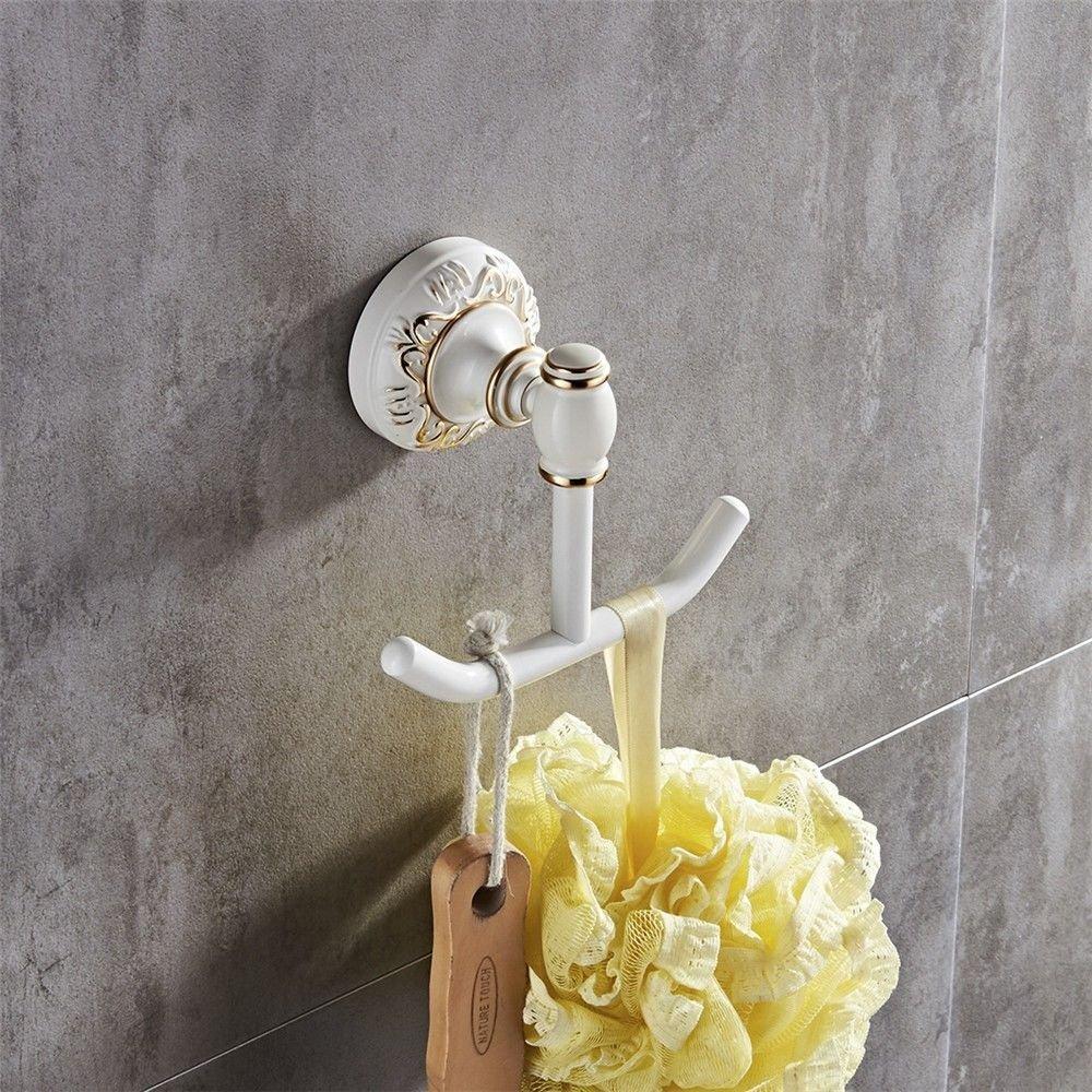 Vintage white aluminum wall-mounted bathroom, coat hook