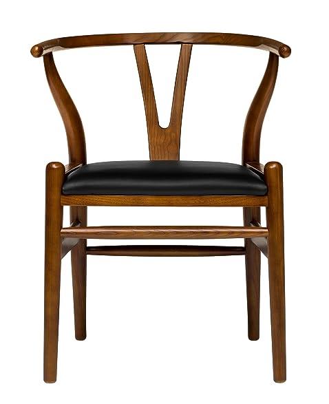 Hans Wegner Wishbone Style Italian Leather Chair (Walnut U0026 Italian Leather)