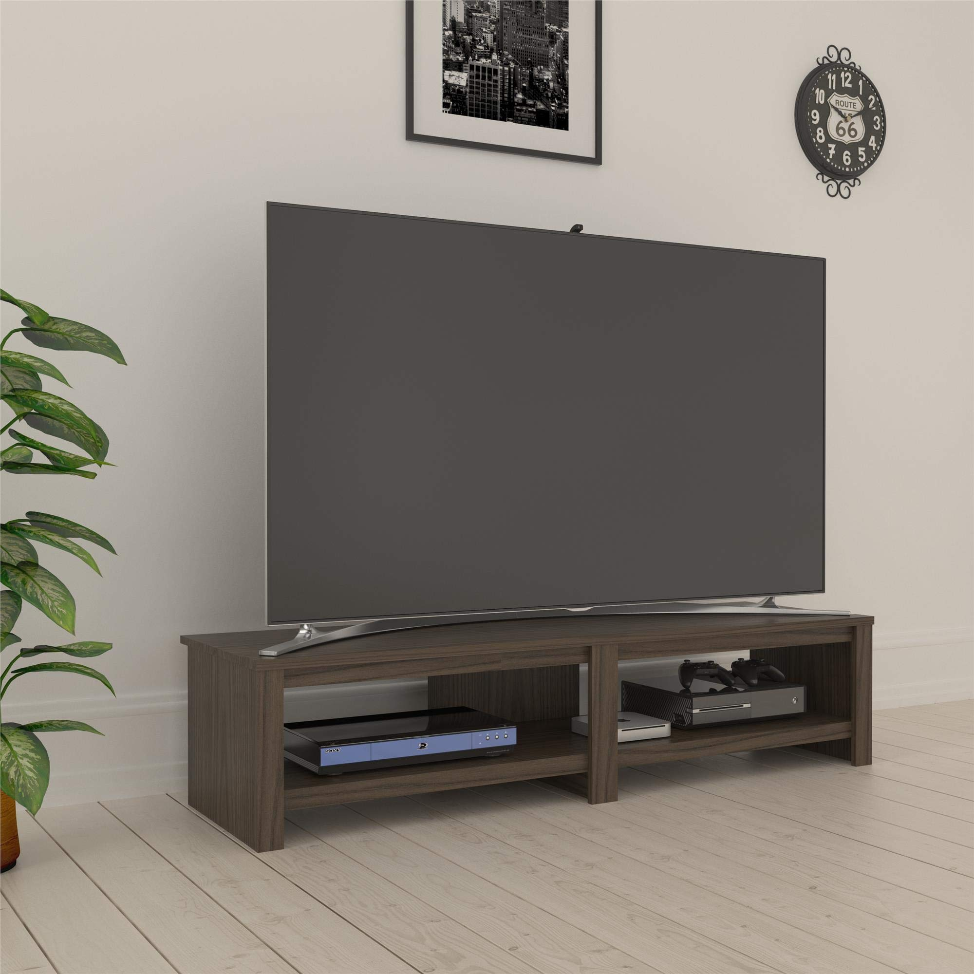 RealRooms Tally TV Stand for TVs up to 74'', Medium Brown