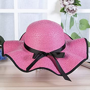 2bff4c20cd831e Lergo Women Floppy Beach Sun Hat Large Brim Straw Cap Roll Up Packable  Bowknot