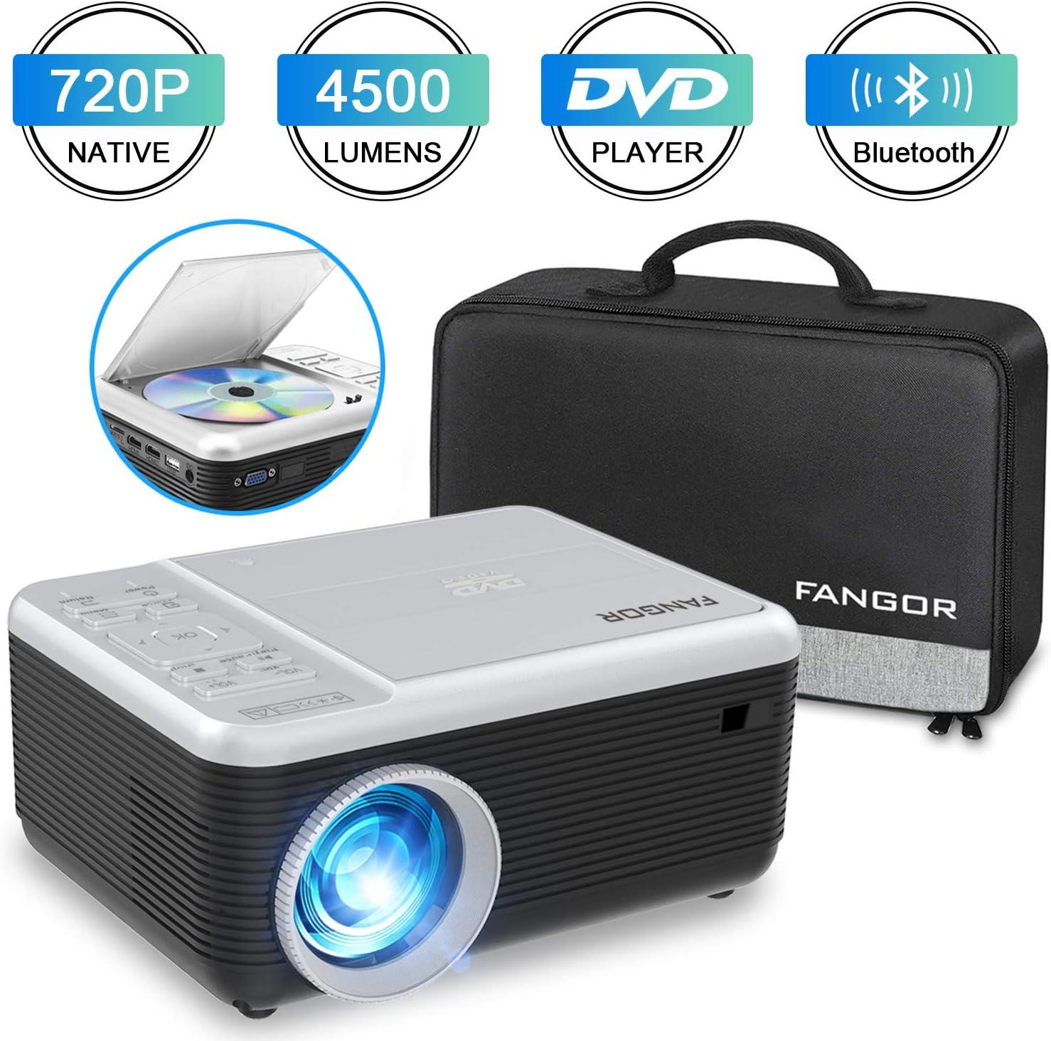 Mini Proyector, FANGOR Mini Video Proyector portátil con Reproductor de DVD,4500Lux proyector de Cine en casa Bluetooth 720P Nativa,Compatible con HDMI/USB/Micro SD/VGA/Fire TV Stick/PS4/ Xbox