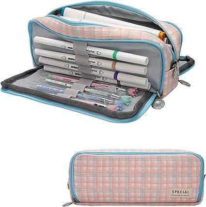 Cindeyar - Estuche de lápices de gran capacidad, 3 compartimentos, estuches para estudiantes, para lápices, para niños, niñas y adolescentes, color Azul y rosa-01: Amazon.es: Oficina y papelería