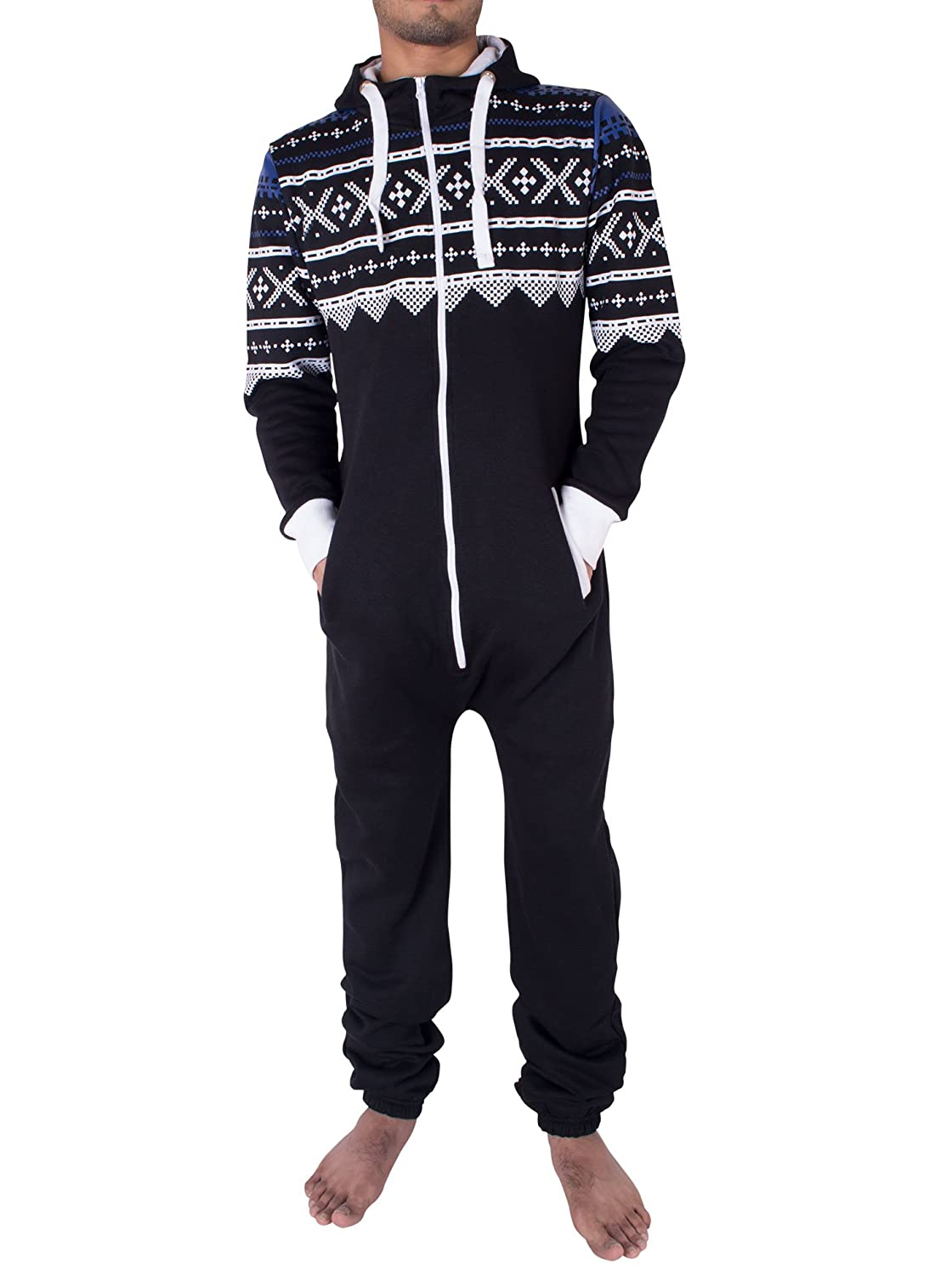 bcbfb4cd19c7 Noroze Mens Hoodie Jumpsuit Onesie One Piece Pajamas at Amazon Men s  Clothing store