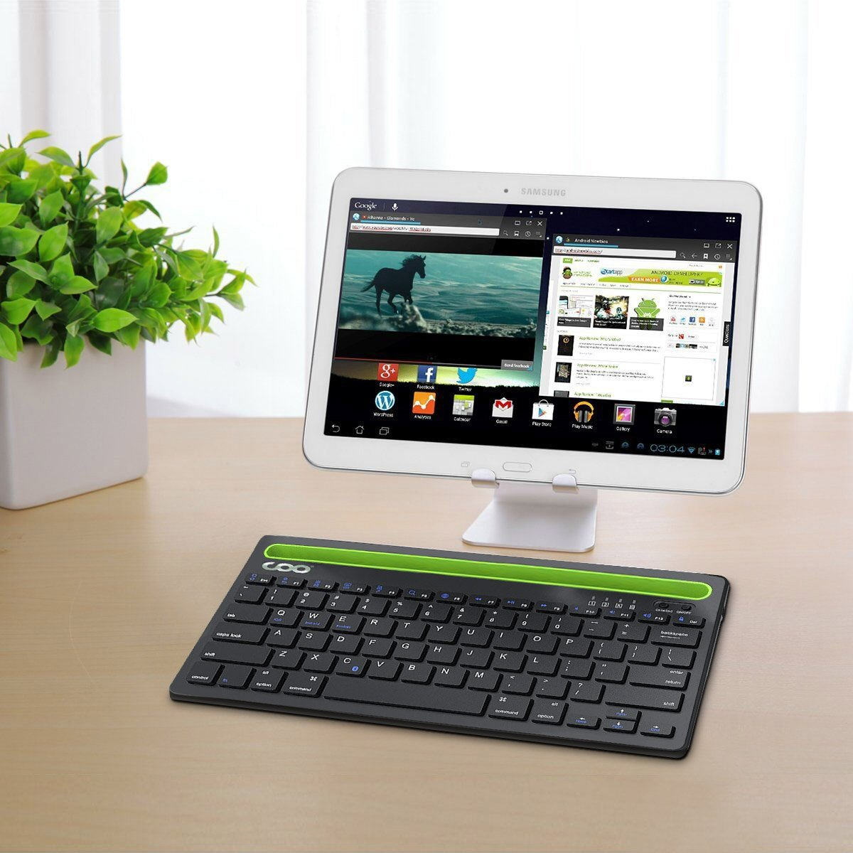 Bluetooth keyboard, Dual Channel Multi-device Universal Wireless Bluetooth Rechargeable Keyboard with Sturdy Stand for Tablet Smartphone PC Windows Android iOS Mac(Silver) by COO (Image #2)