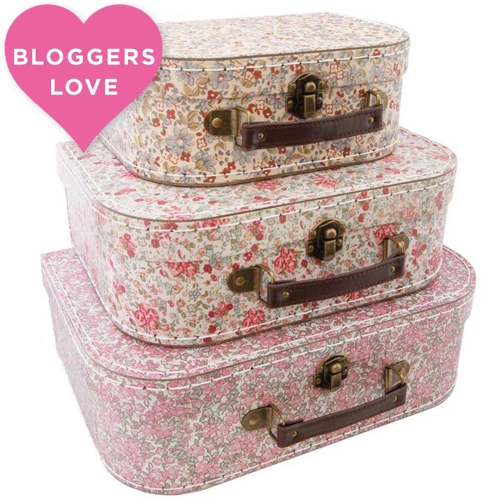 Juego de 3 maletas de flores Vintage Dimensiones: 20 x 29 cm grande/mediano 17 x 23 cm/pequeño 10 x 21 cm: Amazon.es: Hogar
