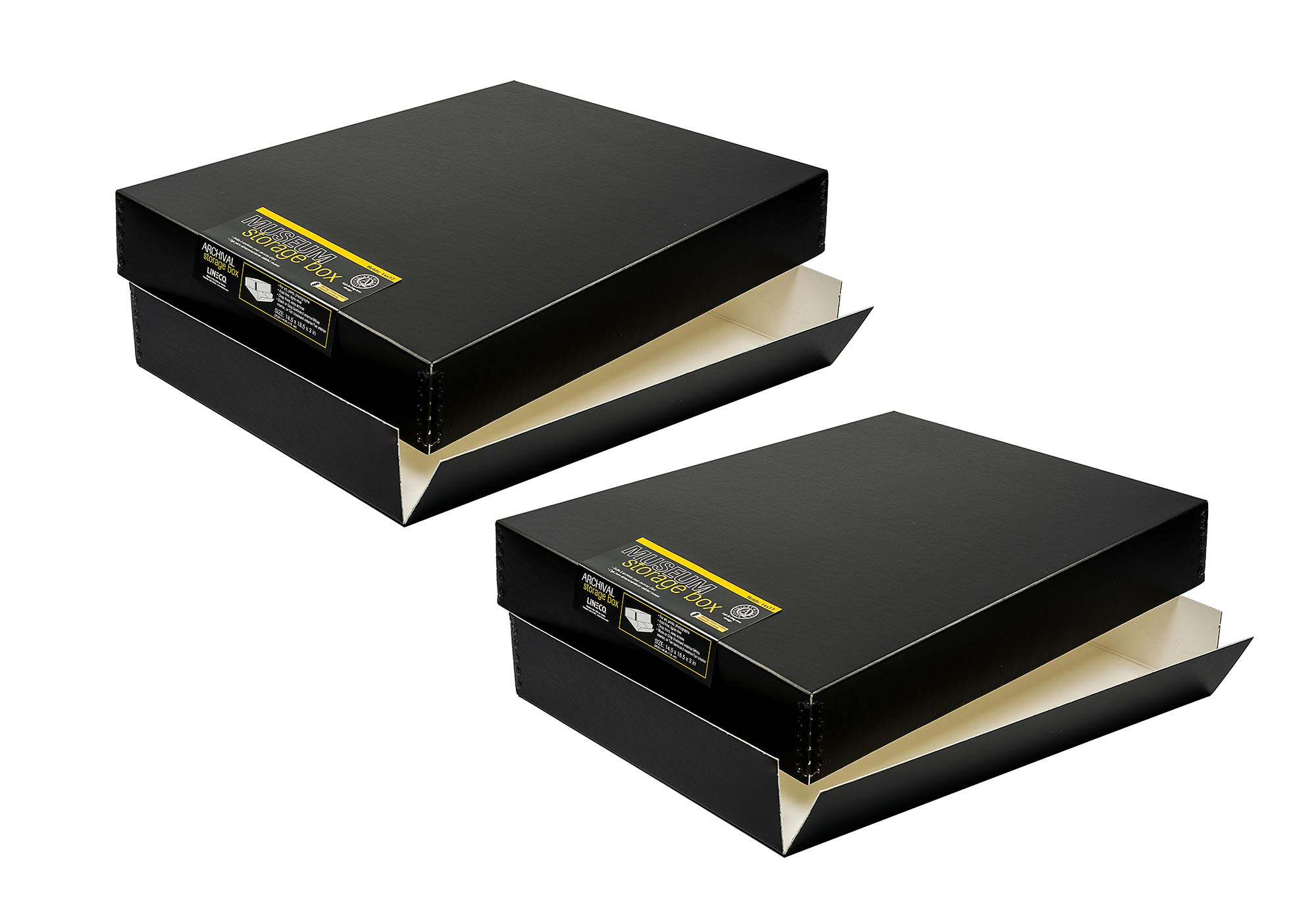 Lineco, Black Archival Box - Pack of 2 - for 14x17 Inch Documents, Photos, Artworks - Drop Front Design - Metal Corner Edges - Acid Free - Lignin Free - Museum Boxes - Easy Storage and Retrieval