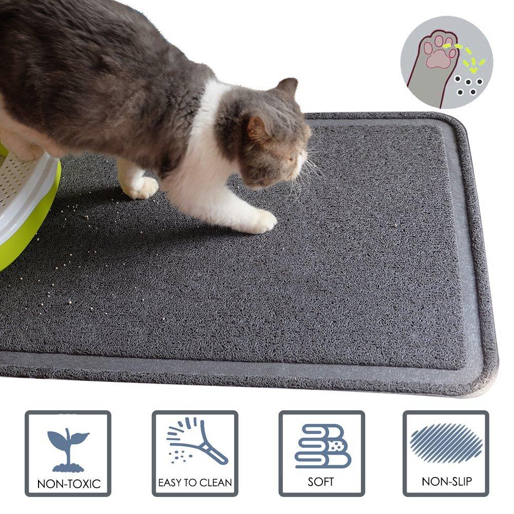 Cat Litter Mat,BPA Free,Soft, Easy Clean, Durable, Non Toxic Trapper Rug Litter Box Mat, Cat Mat,Gray, Large(35.5 x 24inch)