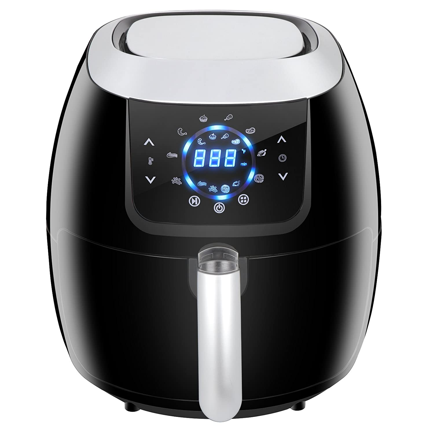 SUPER DEAL XXL Air Fryer Family Size 5.8 Qt. 8-in-1 Touch Screen with Customized Function, Pause Set and Recipe Books