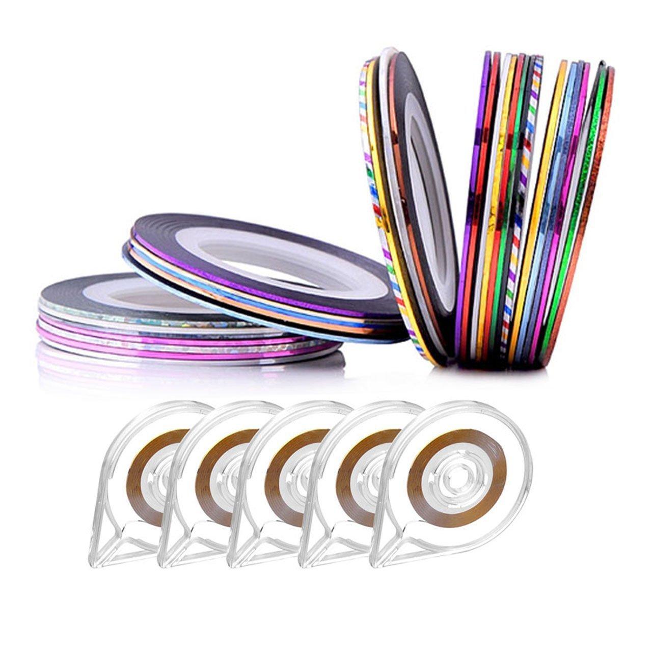 CCbeauty 30 Rolls Mixed Colors Striping Tape Line Nail Art Tips Decoration Sticker + 5Pcs Nail Striping Tape Dispenser Sticker Holder Set by CCbeauty