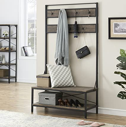 Astounding Ok Furniture 72 Inch Hall Tree With Storage Bench For Hallway And Entryway Heavy Duty 7 Hooks Coat Rack With Shoe Bench Gray Brown Finish Theyellowbook Wood Chair Design Ideas Theyellowbookinfo