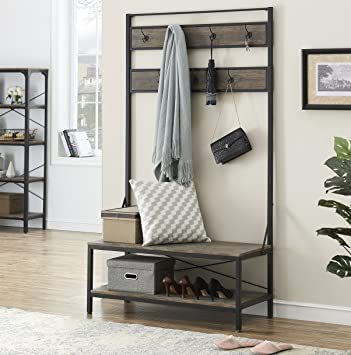 Amazing Ok Furniture 72 Inch Hall Tree With Storage Bench For Hallway And Entryway Heavy Duty 7 Hooks Coat Rack With Shoe Bench Gray Brown Finish Andrewgaddart Wooden Chair Designs For Living Room Andrewgaddartcom