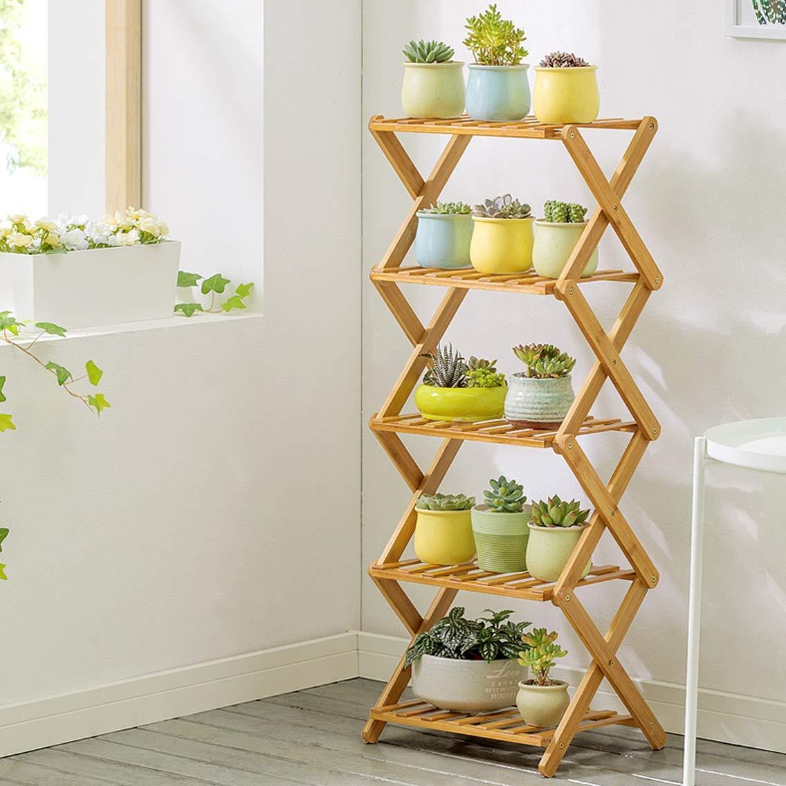 LRW Bamboo Flower Rack Indoor Multi-Storey Folding Flower Rack Balcony Living Room Meat Flower Pot Rack, 5 Storey
