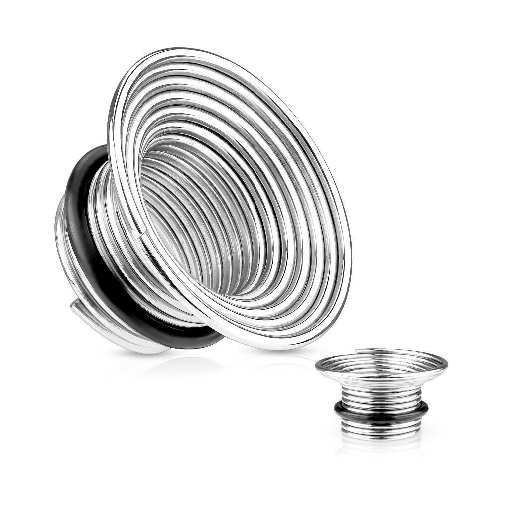 PAIR of Single Flare Wire Coil Tunnels/Plugs - Body Jewelry p658 - C