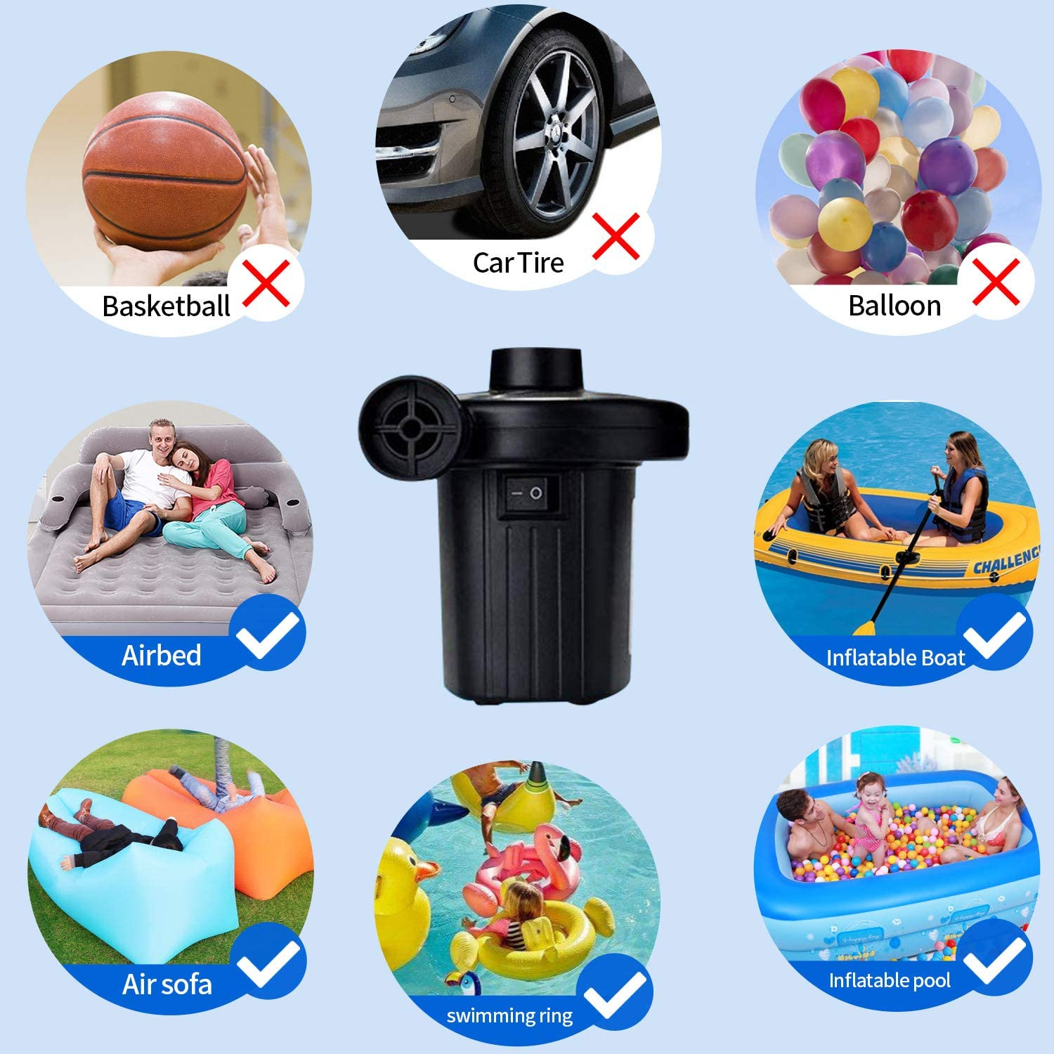 110V AC//130W Electric Air Pump Portable Quick-Fill AC Inflator//Deflator Pumps with 4 Nozzles for Air Mattress Bed Inflatable Pool Boat Raft Toys Swimming Ring