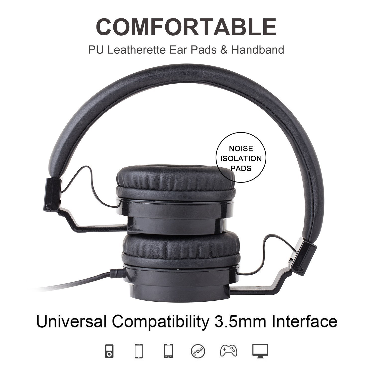 Picun Wired Headphones with Microphones for Computer Smartphones Tablet Laptop MP3/4,Earphones Over Ear Stereo Headsets with Deep Bass for Kids Teens Adults Black by Picun (Image #4)