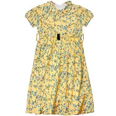 3c6486494a978 MiXiaoJie 子供服 ワンピース シャツ 女の子 チュニック ドレス フリル 長袖 ストライプ 刺繍入り 折り襟 ボタン