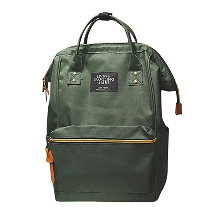 Owill Unisex Solid Backpack Living Travelling Share Double Shoulder Bag Stylish Nylon Backpack (Army Green